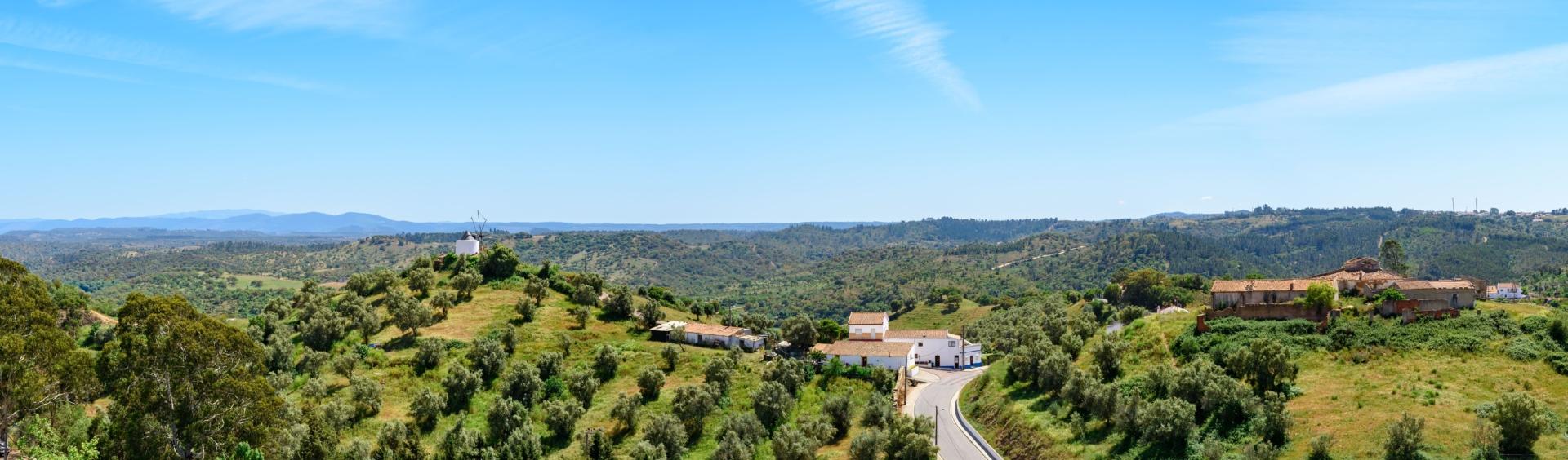Panorama sur le paysage verdoyant de l'Alentejo et ses maisons blanches